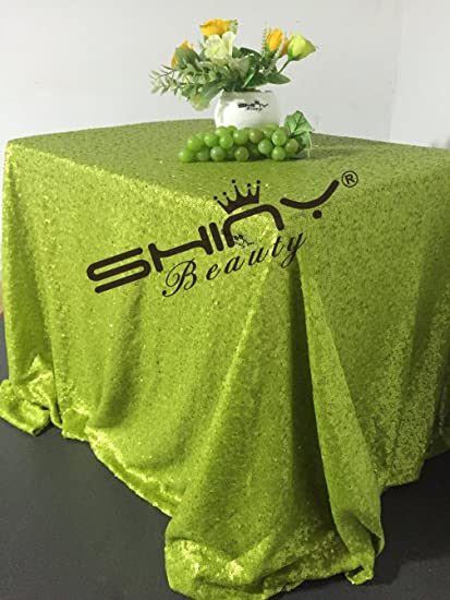 Bon ShinyBeauty Lime Green Sequin Linen Tablecloth 90x132 Inch, Polyester  Sequin Table Cloth