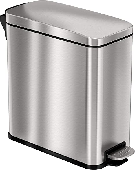 Amazon Com Itouchless Softstep 3 Gallon Slim Bathroom Step Trash Can With Absorbx Odor Filter Removable Inner Bucket Pedal Stainless Steel Garbage Bin For Bathroom Bedroom And Business Office Cubicle Home