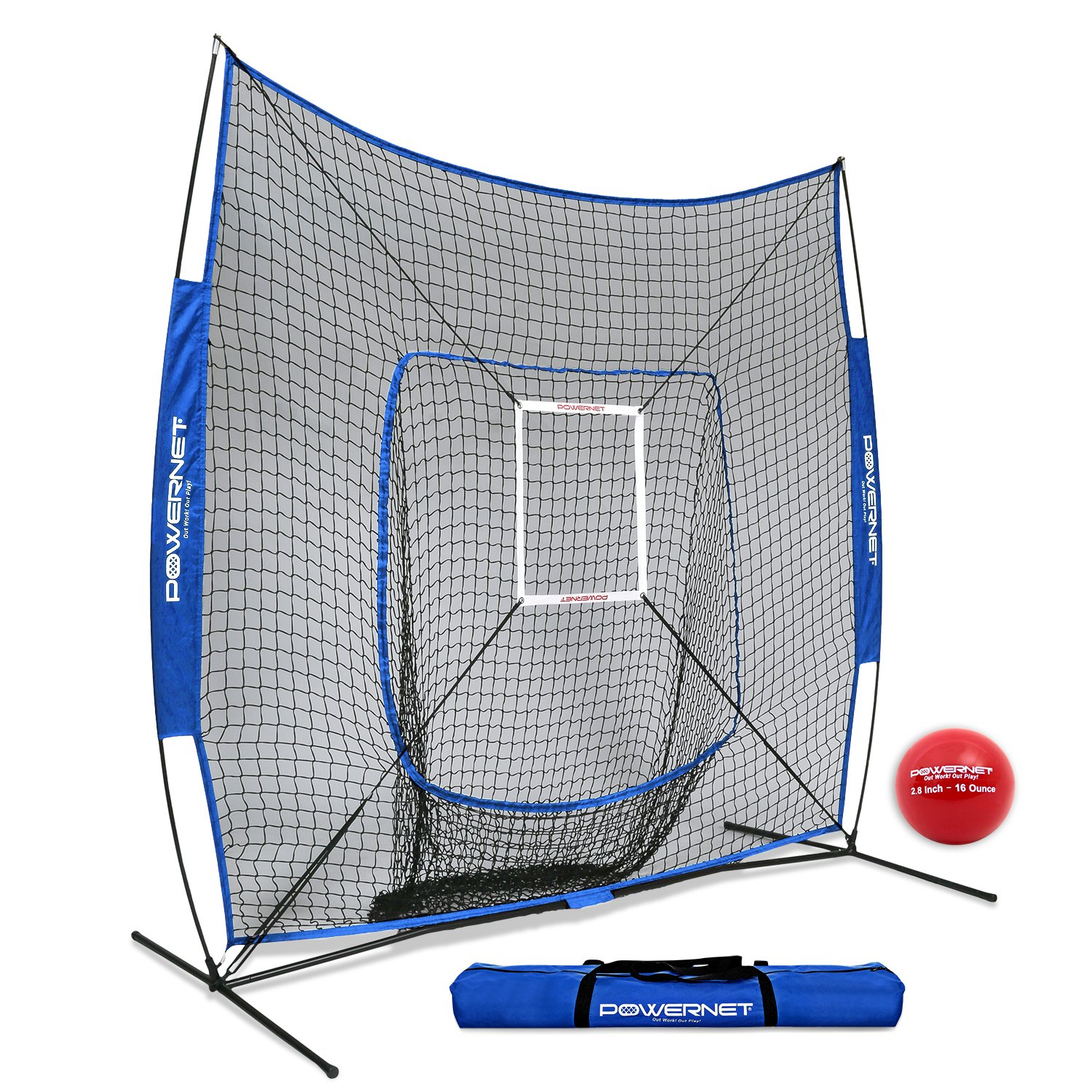 PowerNet DLX 7x7 Baseball Softball Hitting Net + Weighted Heavy Ball + Strike Zone Bundle (Royal Blue) | Training Set | Practice Equipment Batting Soft Toss Pitching | Team Color | Portable Backstop by PowerNet