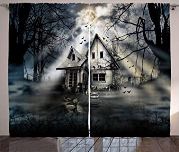 Ambesonne Halloween Curtains, Haunted House With Dark Horror Atmosphere  Cloudy Mysterious Frightening, Living Room