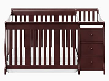 Perfect Stork Craft Portofino 4 In 1 Fixed Side Convertible Crib Changer, Cherry