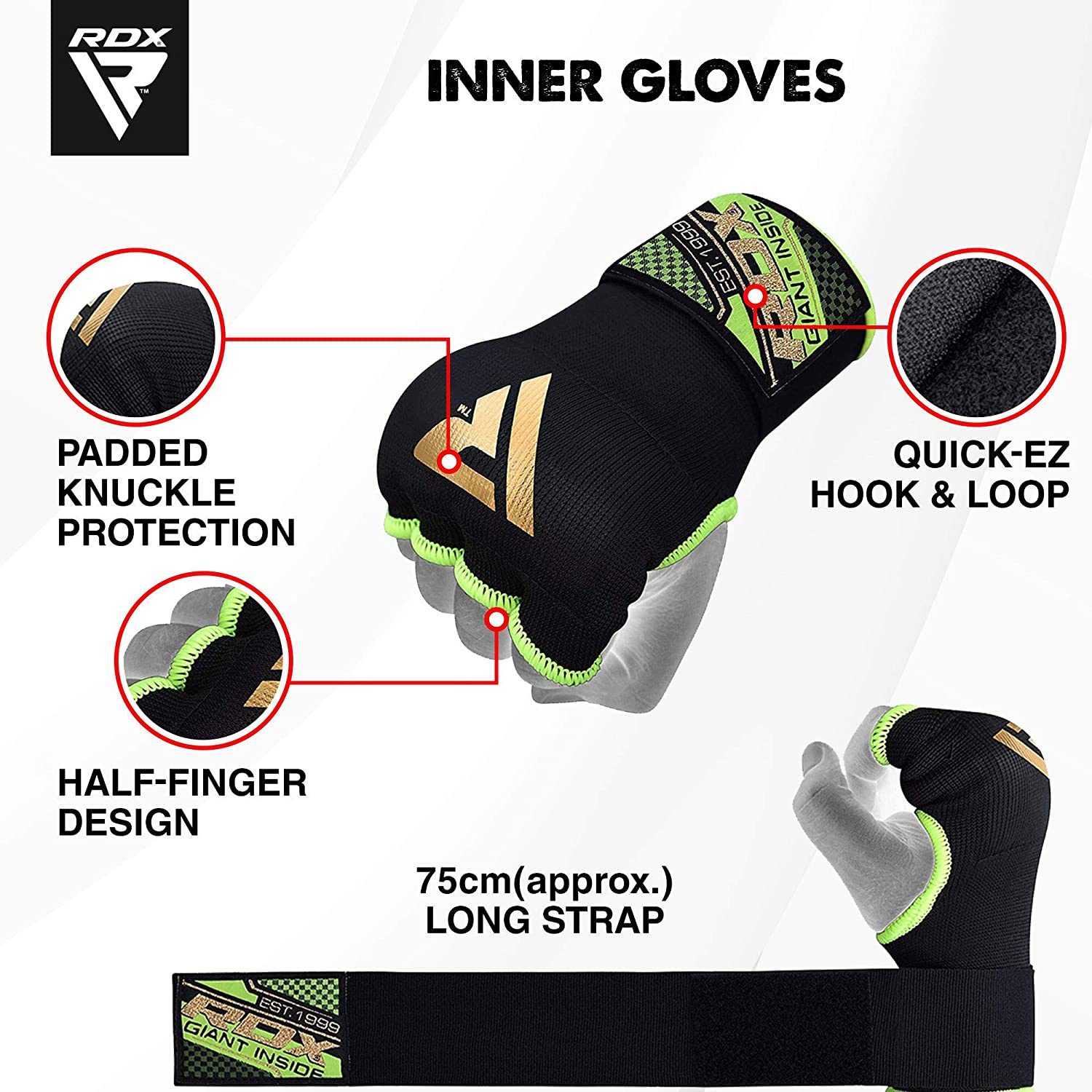 Fist Protector Kickboxing /& Martial Arts Training Great for MMA Quick Long Wrist Support Muay Thai Elasticated Padded Bandages under Mitts RDX Boxing Hand Wraps Inner Gloves for Punching
