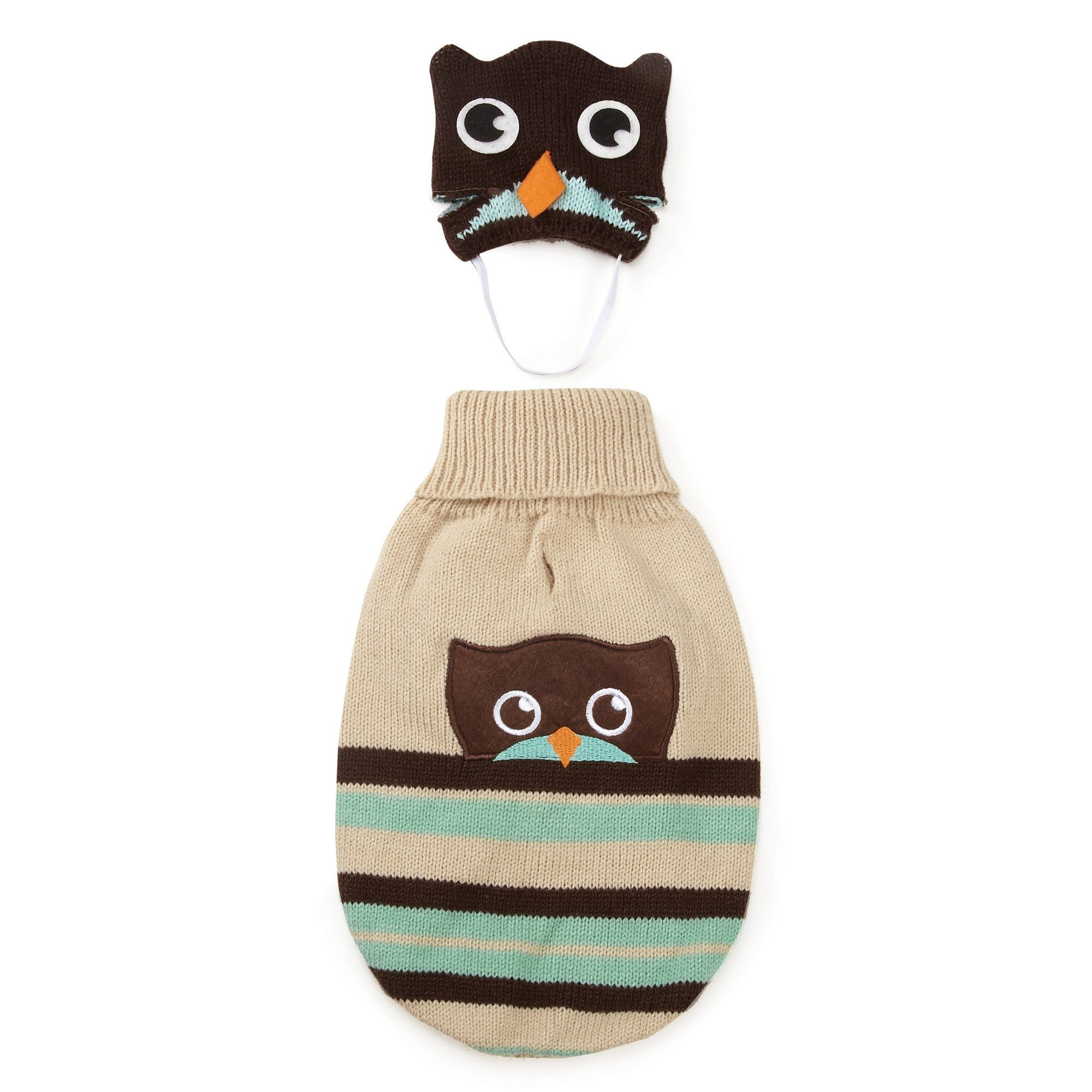 Zack & Zoey Piggy Back Pals Sweater and Hat Set for Dogs, 16'' Medium, Owl