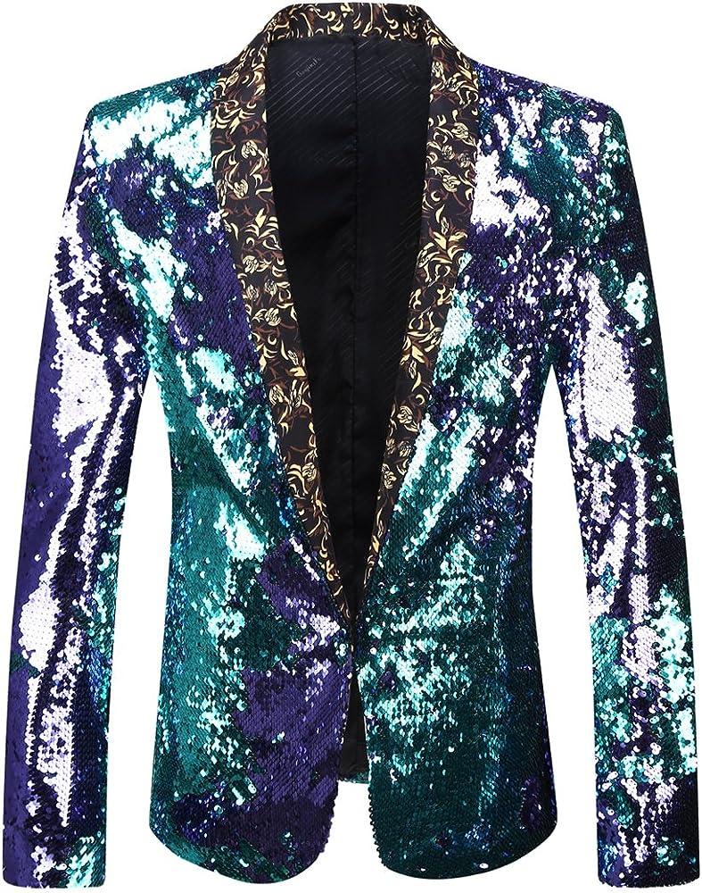 79315a215 Men Stylish Two Color Conversion Shiny Sequins Blazer Suit Jacket
