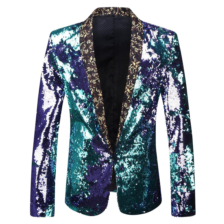 3bf5dbc6 PYJTRL Men Stylish Two Color Conversion Shiny Sequins Blazer Suit Jacket