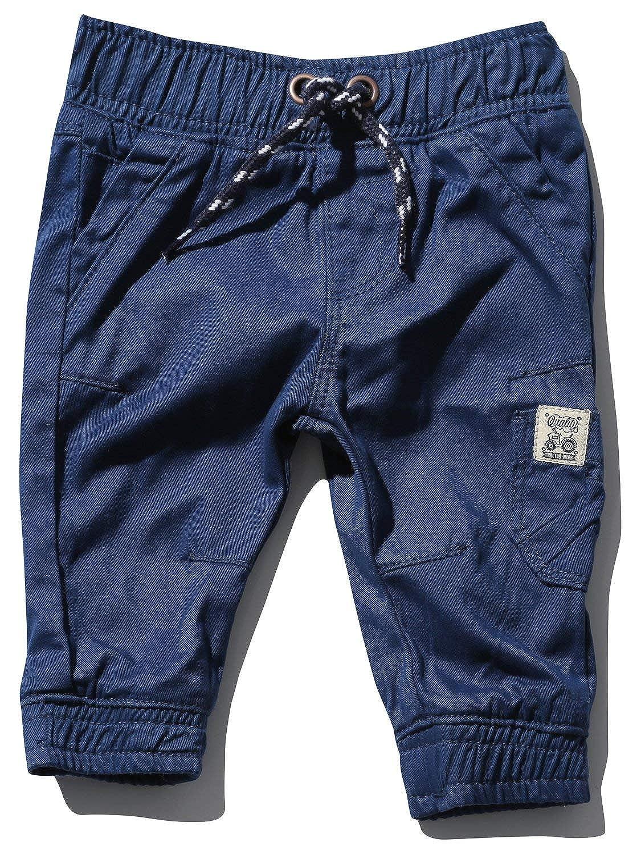 M&Co Baby Boy Cotton Plain Stretch Waist Pockets Cuffed Ankle Twill Cargo Trousers