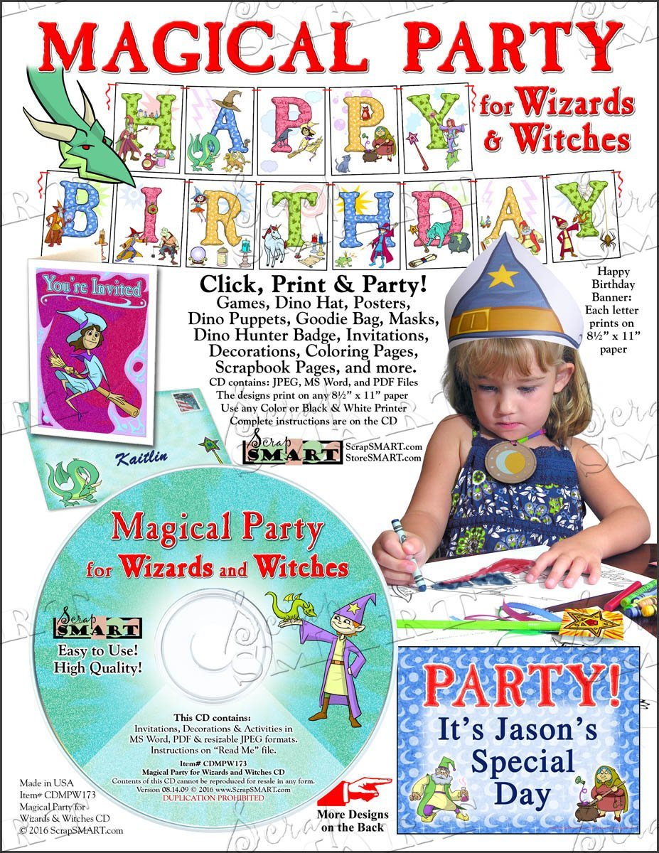 ScrapSMART - Magical Party for Wizards and Witches Party Software Kit - Jpeg, PDF, and Microsoft Word Files (CDMPW173)