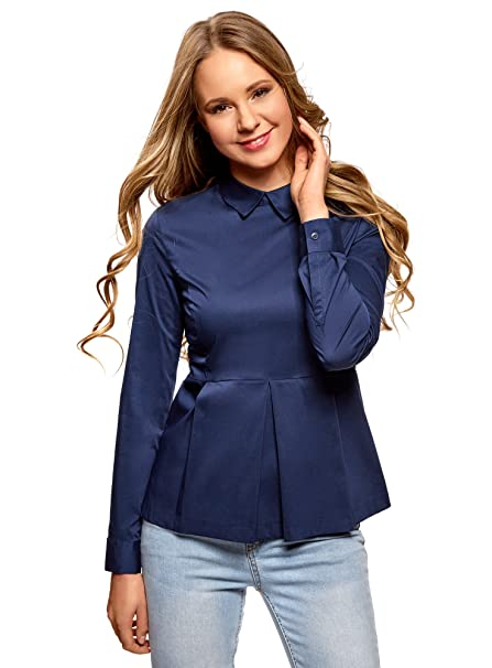 oodji Ultra Mujer Blusa Básica con Volante, Azul, ES 34 / XXS