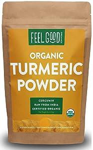Organic Turmeric Root Powder w/Curcumin | Lab Tested for Purity | 100% Raw from India | 8oz Bag by Feel Good Organics