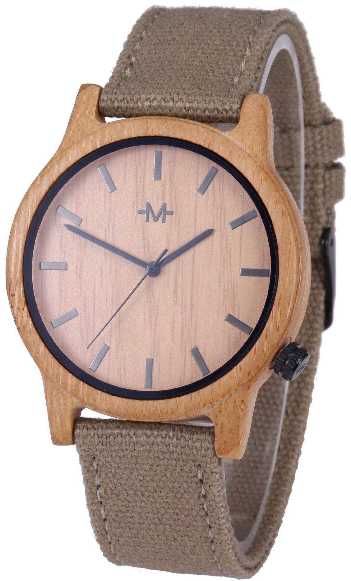 Marino Mens Wooden Watch - Wrist watches for Men - Dress Wood Watch (One Size, Khaki - Canvas Band) by Marino Avenue (Image #1)