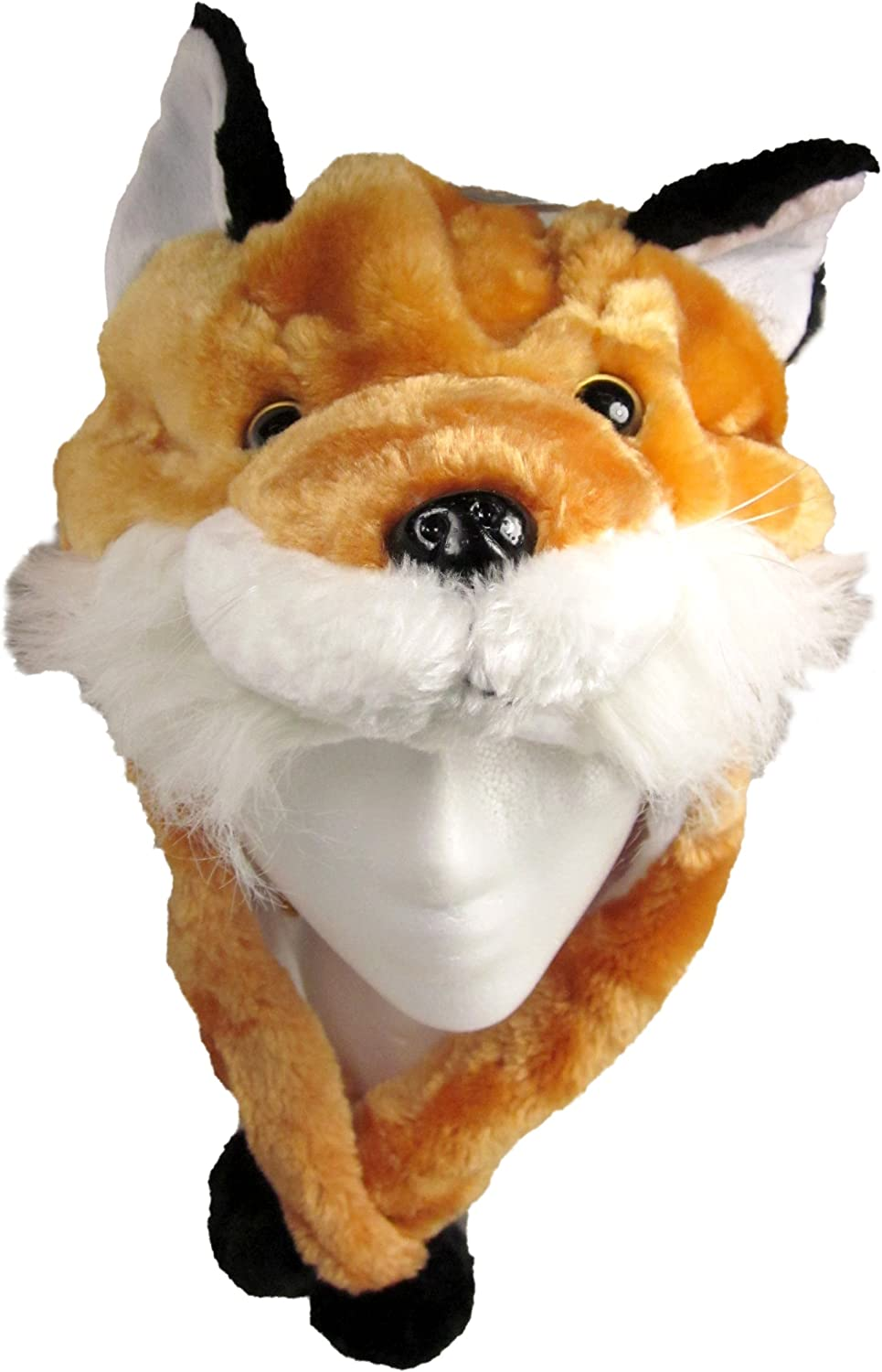 Critter Caps Plush Animal Hat with Ear Flaps That Button Under The Chin