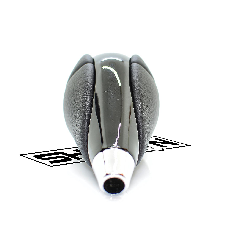 SHIFTIN Leather Chrome Wood Gear Shift Knob Stick Shifter for Lexus ES300h ES350 GS300 GS350 GS430 GS450h GS460 is-F IS250 IS300 IS350 LS460 LS600h RX350 RX450h Black Leather//Medium Walnut