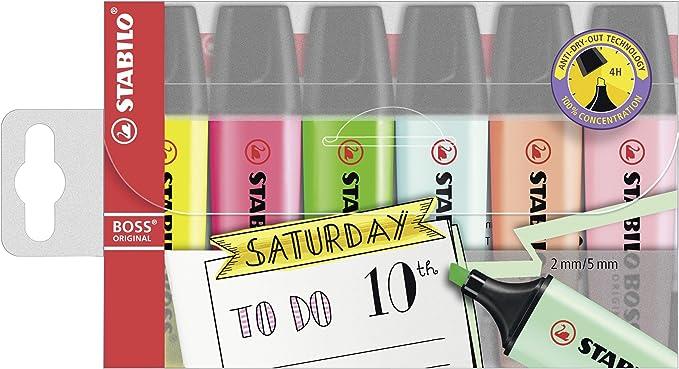 Resaltador – STABILO BOSS ORIGINAL – My STABILO Journal – 6 Pack – 6 colores: Amazon.es: Oficina y papelería