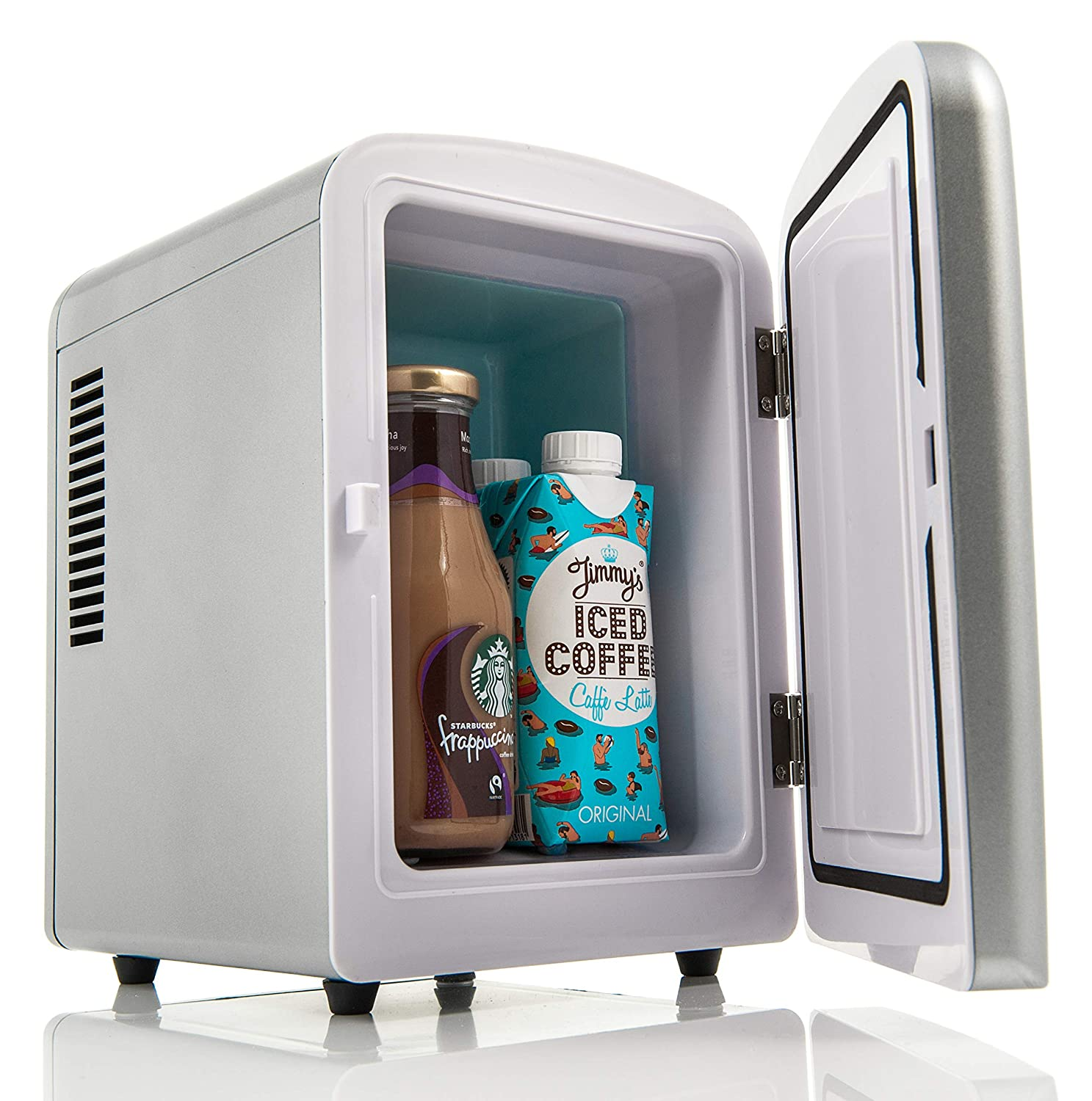 Fineway Portable 4L Mini Fridge Cooler Chiller and Warmer -Ideal for Home Bedrooms Offices Camping Car Black Comes with DC 12V power cord Can Drinks