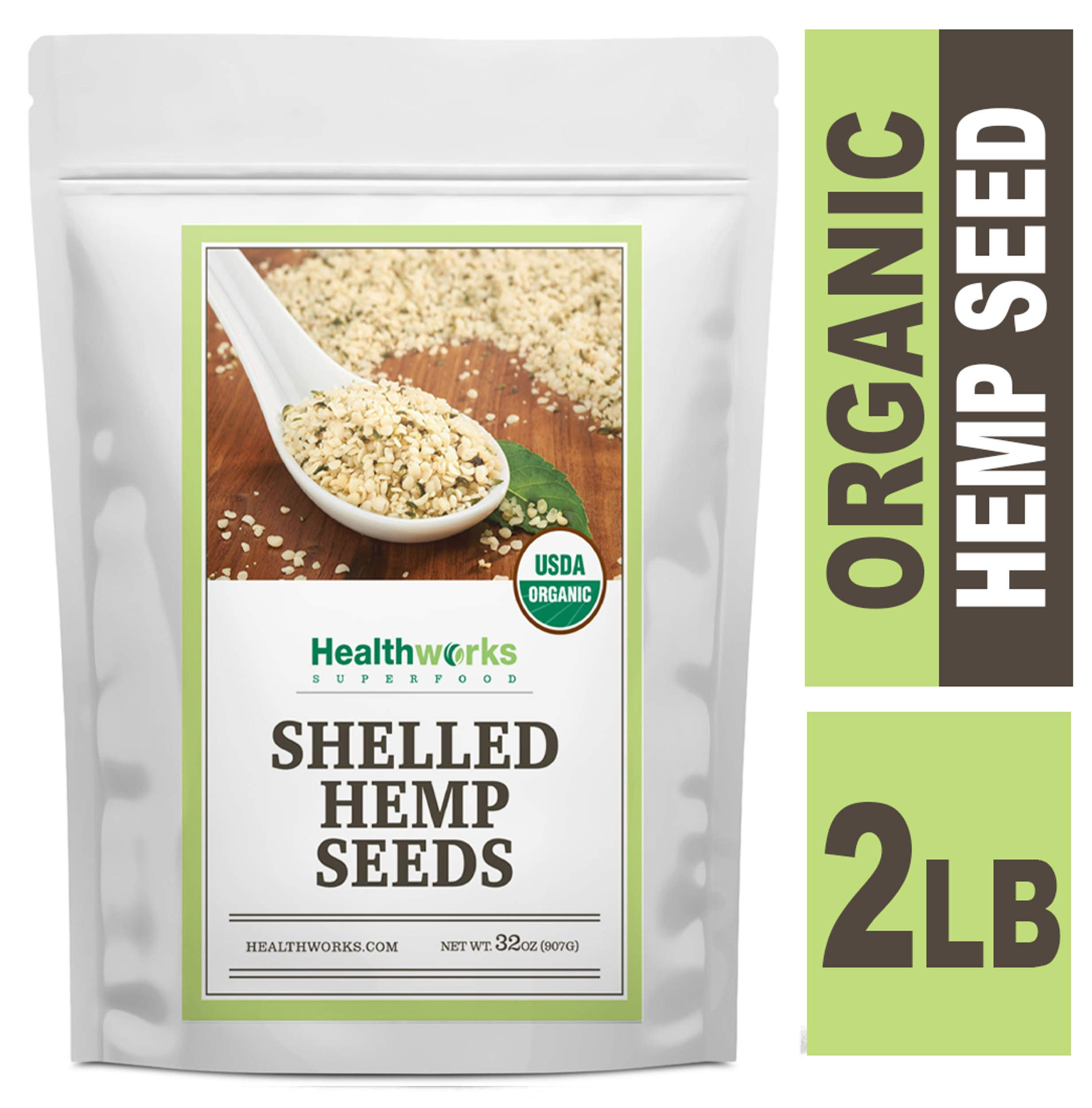 Healthworks Shelled Hemp Seeds Organic (32 Ounces / 2 Pounds) | Premium & All-Natural | Canadian or European Sourced | Contains Omega 3 & 6, Fiber and Protein by Healthworks