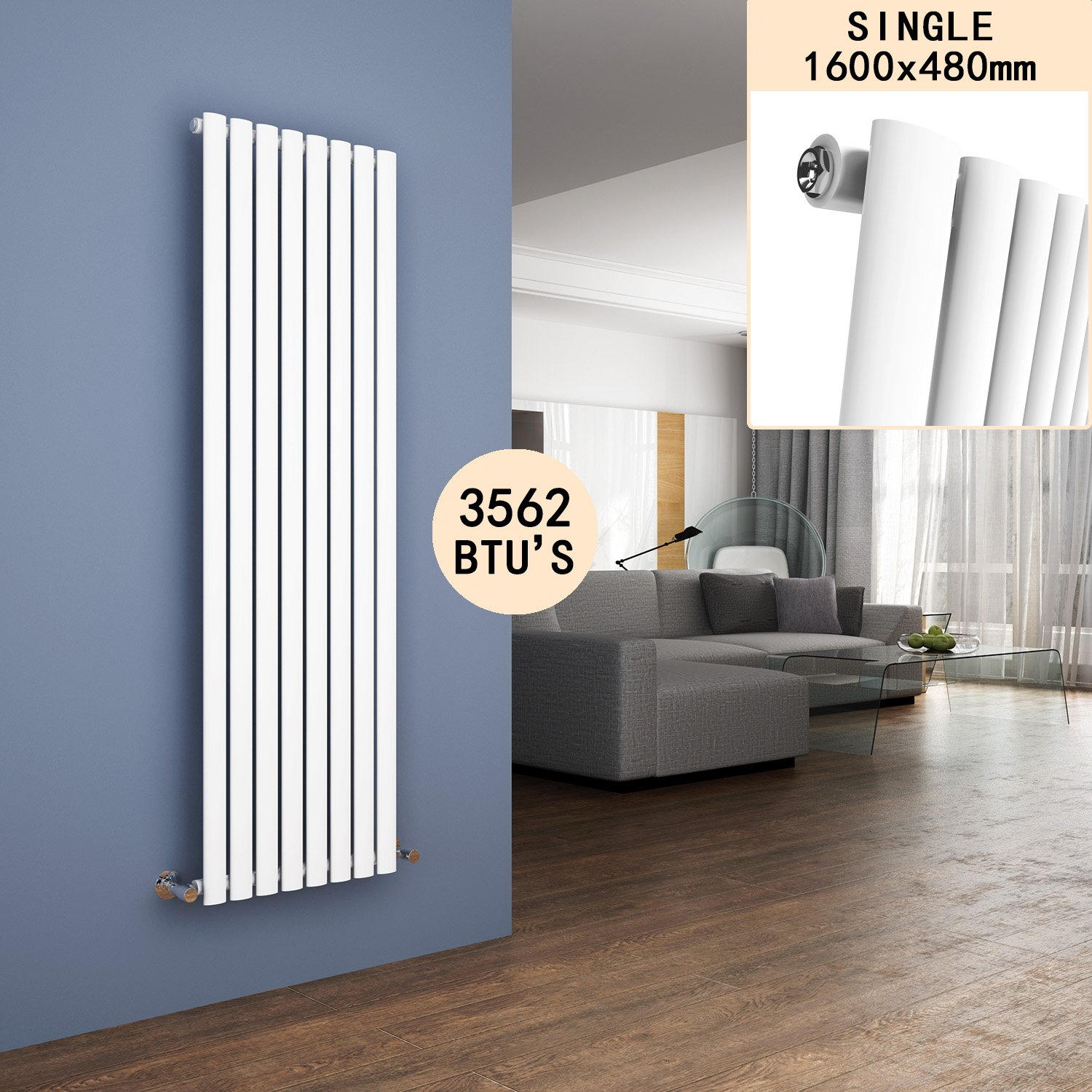 ELEGANT Anthracite Radiators Double 1600 x 360mm Oval Column Electric Kitchen Panel Heater Designer Vertical Radiator