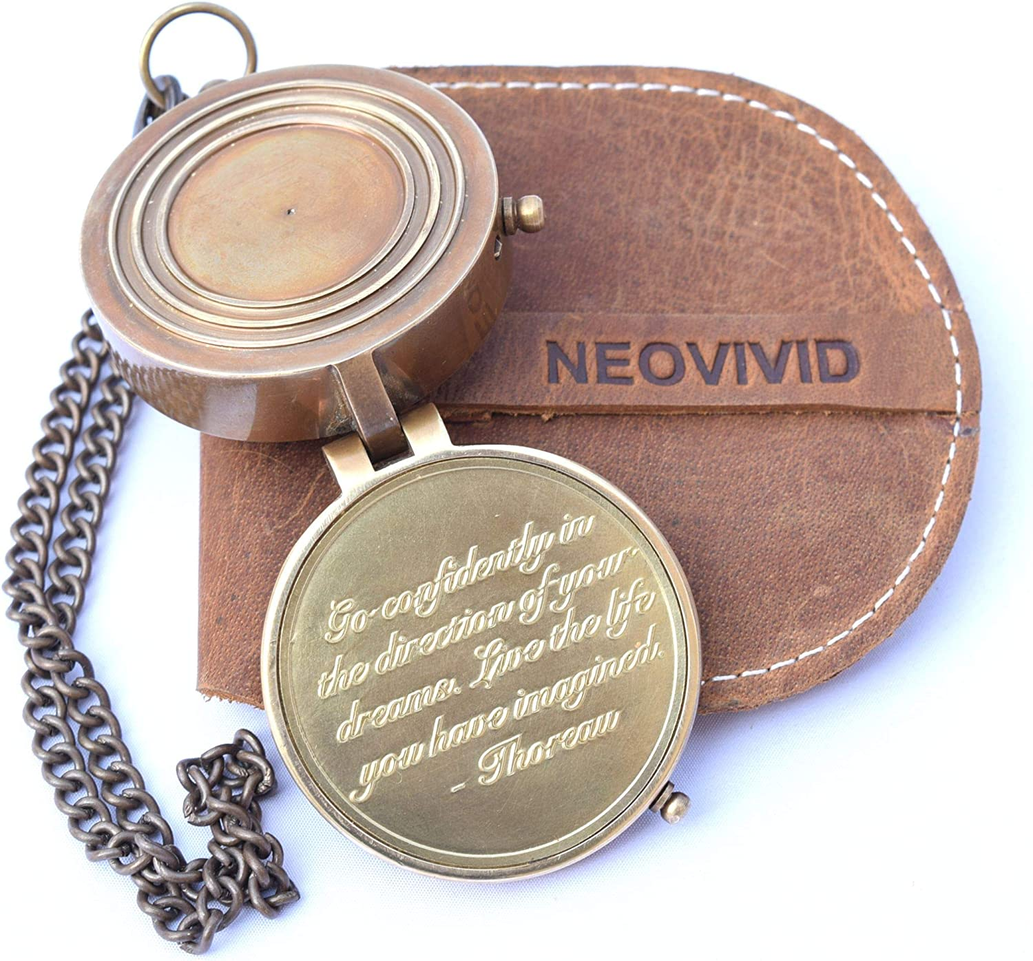 NEOVIVID Thoreau's Go Confidently Quote Engraved Compass with Stamped Leather case, Graduation Day Gifts