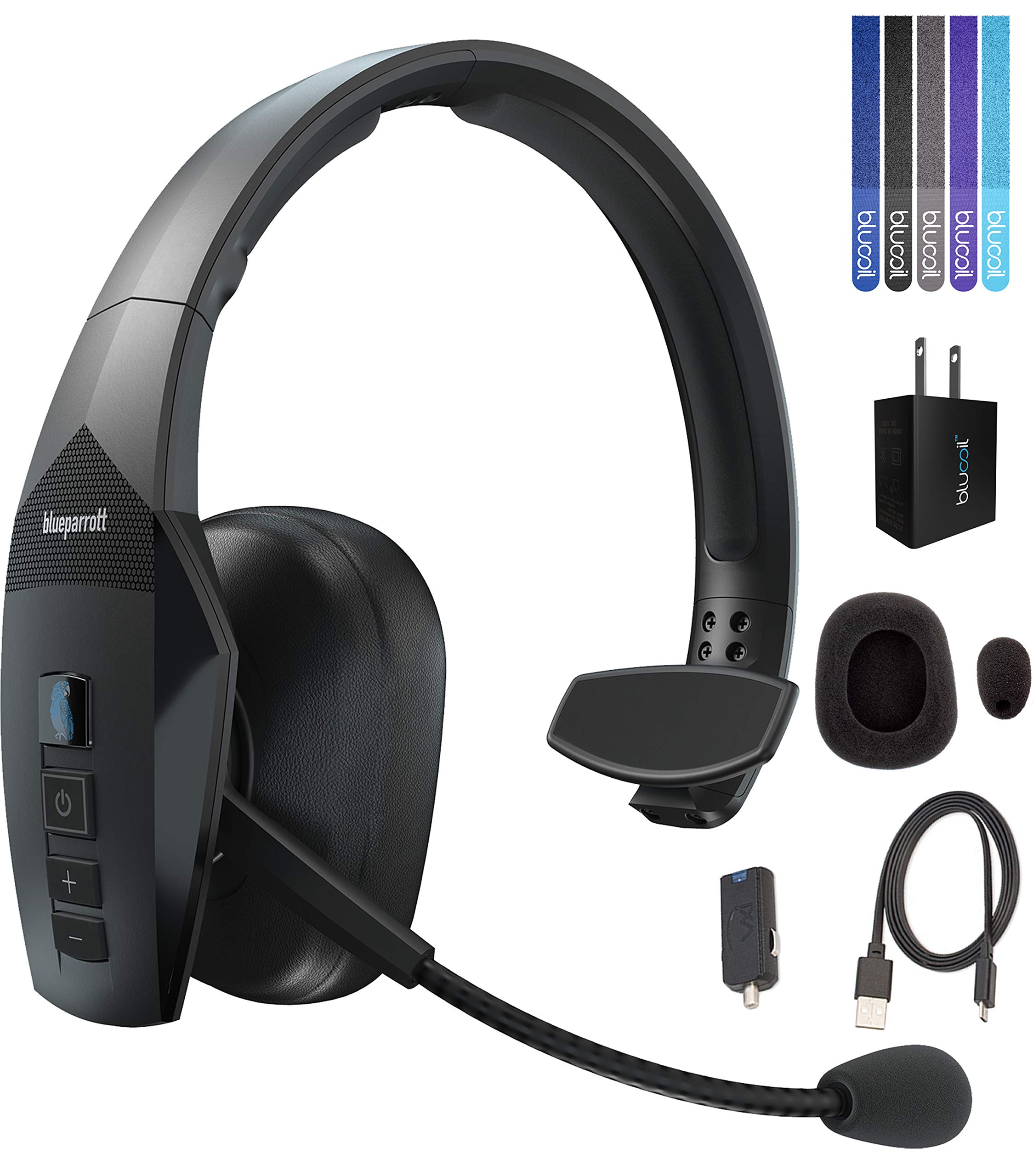 VXI BlueParrott B550-XT Noise Canceling Bluetooth Headset Bundle with Blucoil USB Wall Adapter and 5-Pack of Reusable Cable Ties by Blucoil