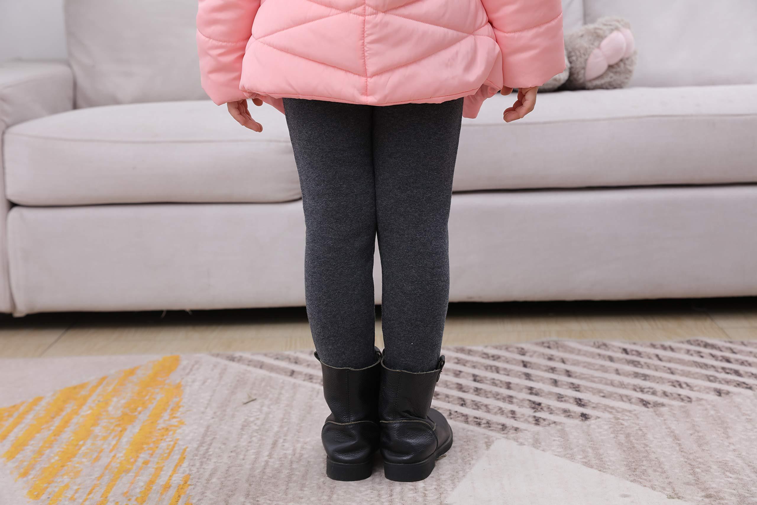 IRELIA Kids Girls 100% Cotton Fleece Lined Solid Leggings Warm Pants for Winter