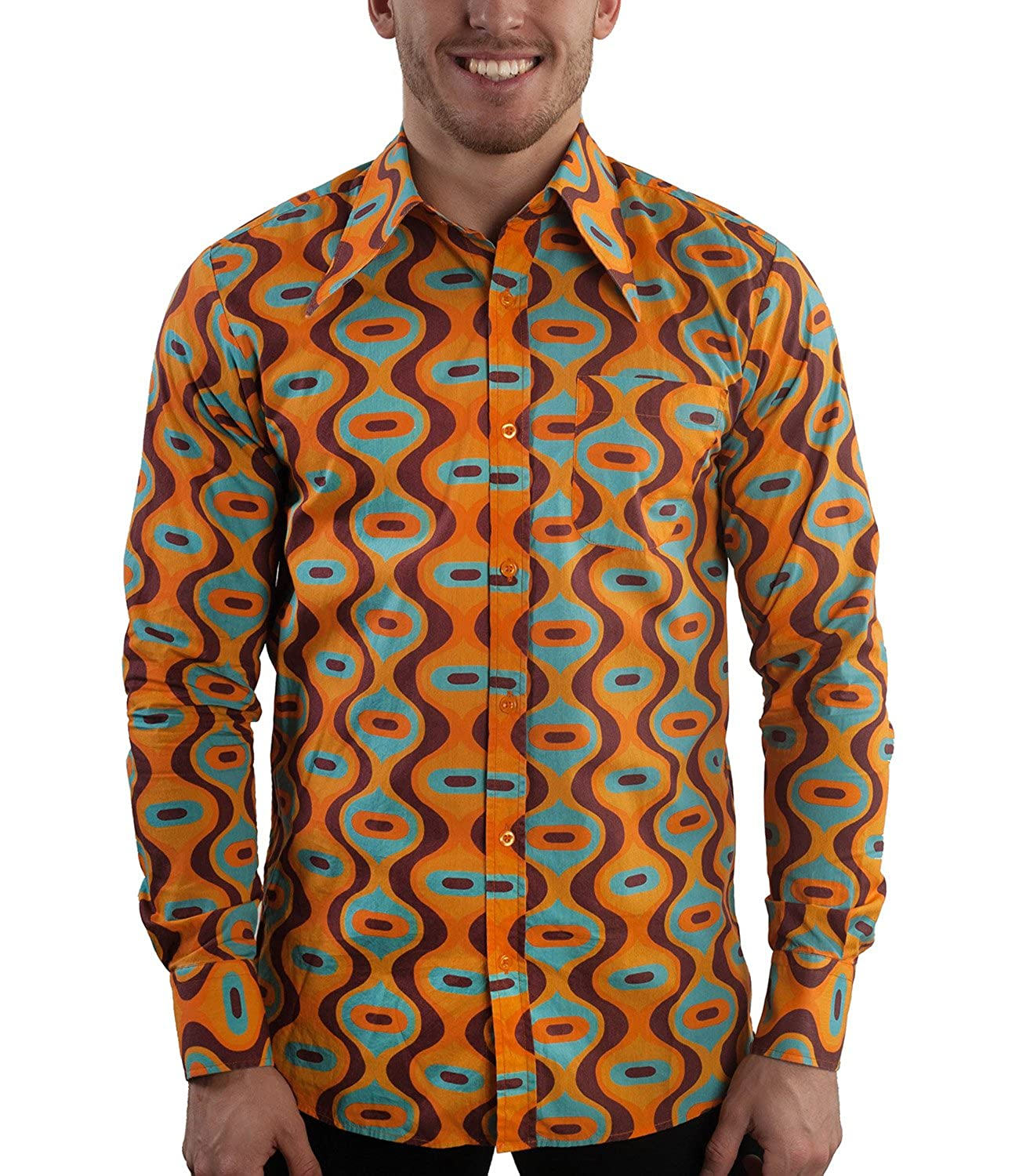 1960s Inspired Fashion: Recreate the Look Retro 70s Design Party Shirt Drops Turquoise £4,142.25 AT vintagedancer.com