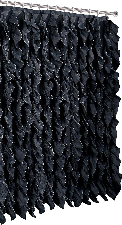 spring Home Waterfall Shabby Chic Ruffled Fabric Shower Curtain (Black)