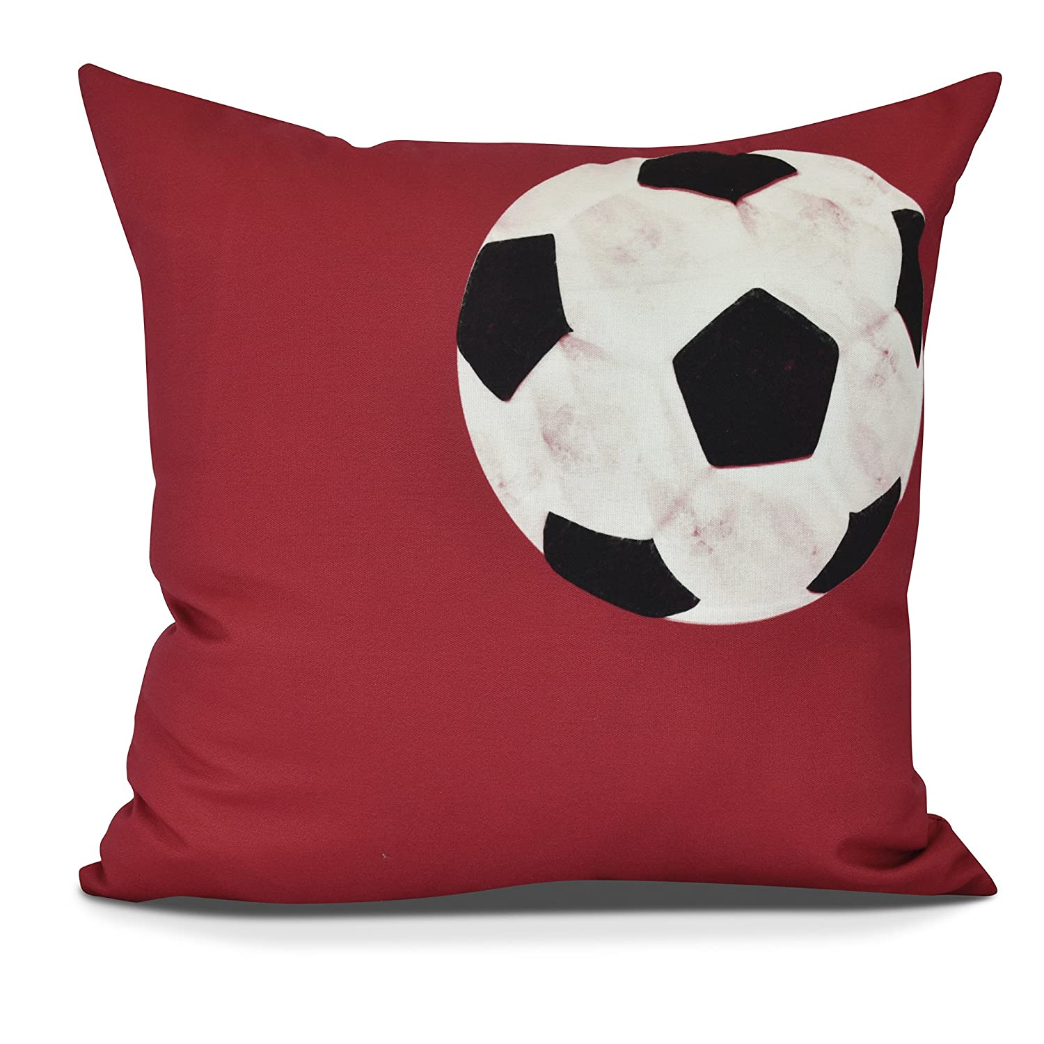 E by design PG880RE10-18 Soccer Ball Decorative Geometric Throw Pillow 18 Red