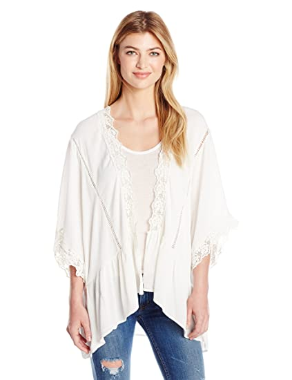 Taylor and Sage Women s Spliced Kimono with Crochet 5df7c6ae5