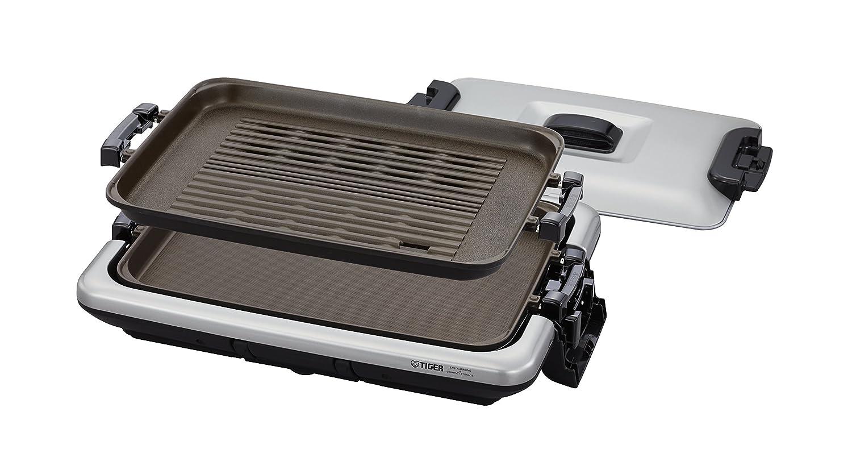 タイガー ホットプレート 平面 焼肉 プレート 2枚 タイプ 蓋付き モウいちまい CRV-G200-SN Tiger  <本体>シルバー<プレート>2枚 B074MVWVFG