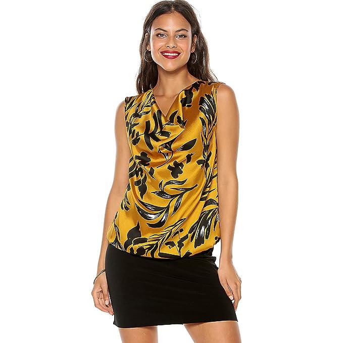 VENCA Vestido Escote Redondo Efecto drapeado Mujer by Vencastyle - 027180, Ocre Estampado, 38: Amazon.es: Ropa y accesorios