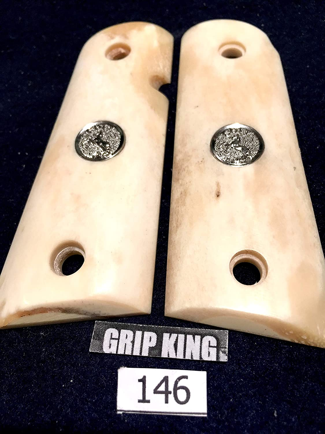 1911 compact grips #146, fits 3-4 inch barrel Colt Officers, Defenders,Genuine Buffalo Bone. SALE $43.88