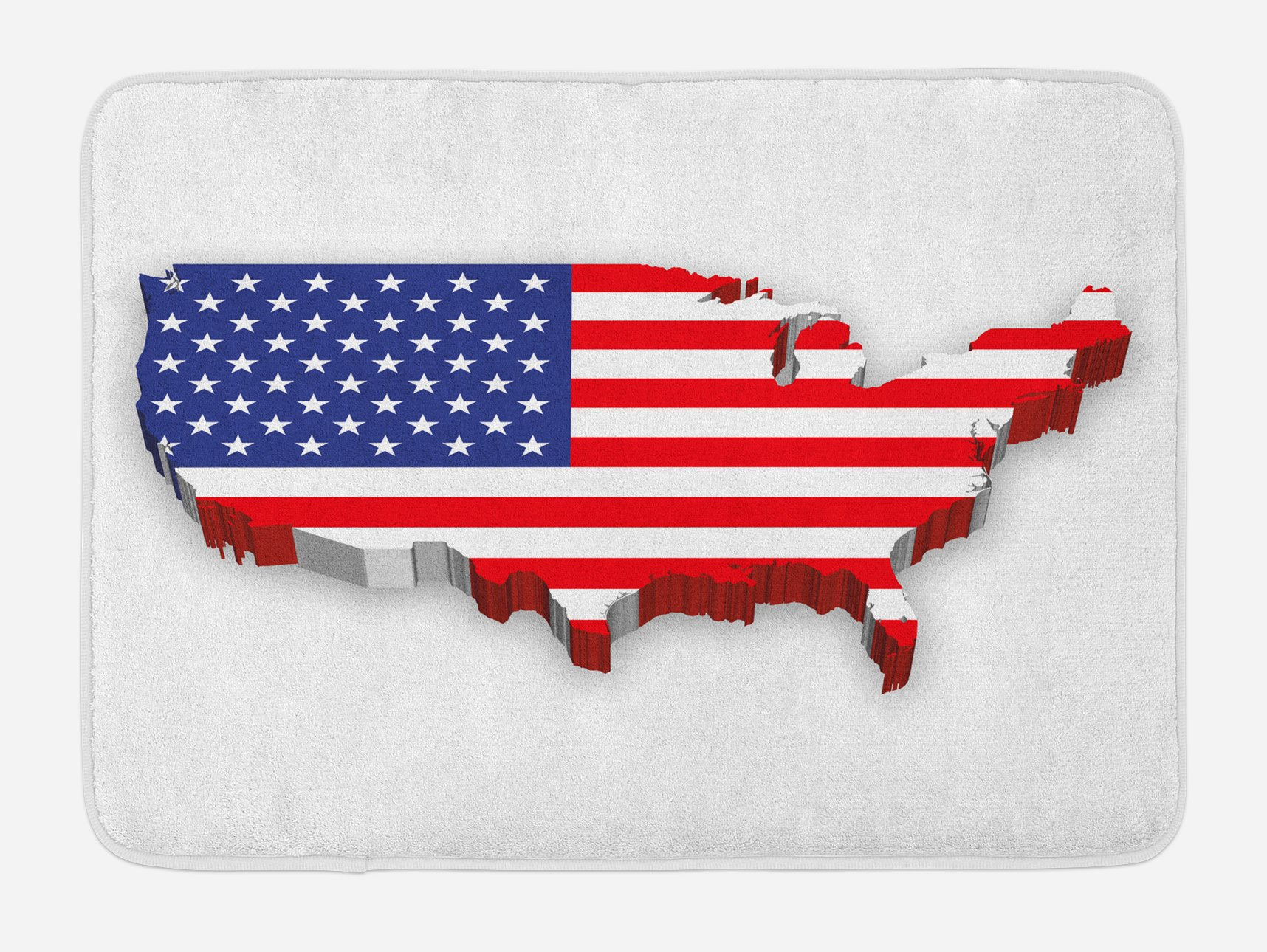 Lunarable USA Map Bath Mat, America Continent Figure with National Flag Symbol Glory Country Design, Plush Bathroom Decor Mat with Non Slip Backing, 29.5 W X 17.5 W Inches, Navy Blue Red White