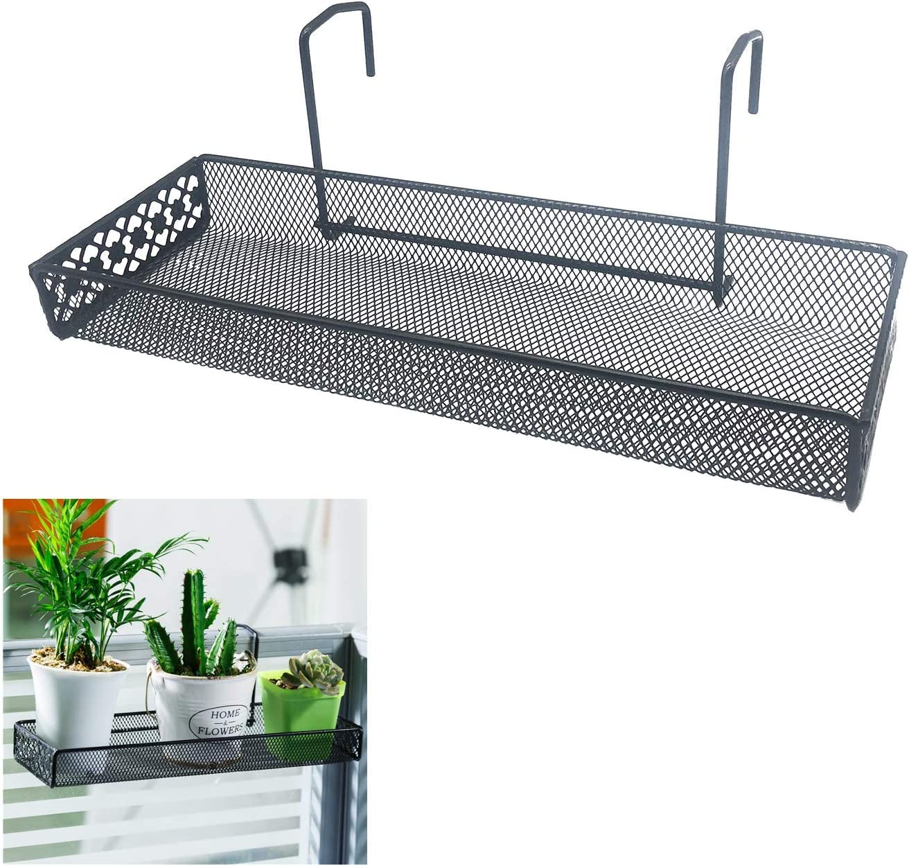 Chris.W Iron Hanging Shelf Basket with Hooks Balcony Succulent Plants Mini Flower Pot Holder Railing Shelf, for Patio Porch or Fence (Black)-Small