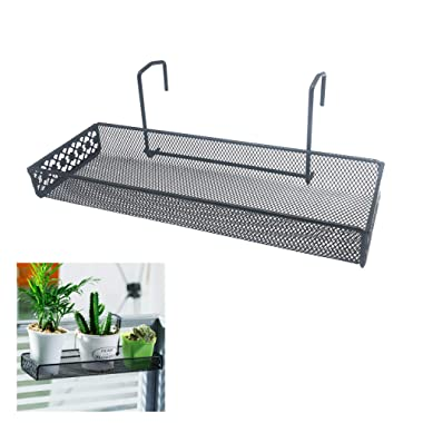 Chris-Wang Iron Wire Outdoor Rectangle Plant Caddy, Patio Fence Deck Porches Railing Shelf Flower Pots and More Holder, Space-Saving Office Cubicle Grid Works Sundries Storage Rack(Black)