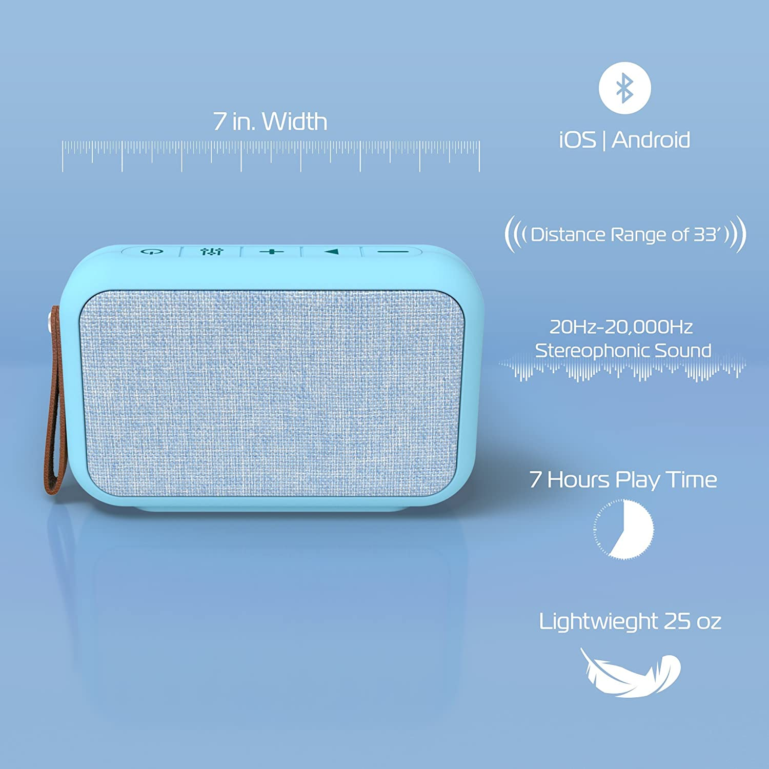 Rectangular Waterproof Bluetooth Fabric Speaker Blue Add Powerful Sound and Ambiance to Any Room Tzumi Studio Series Speaker
