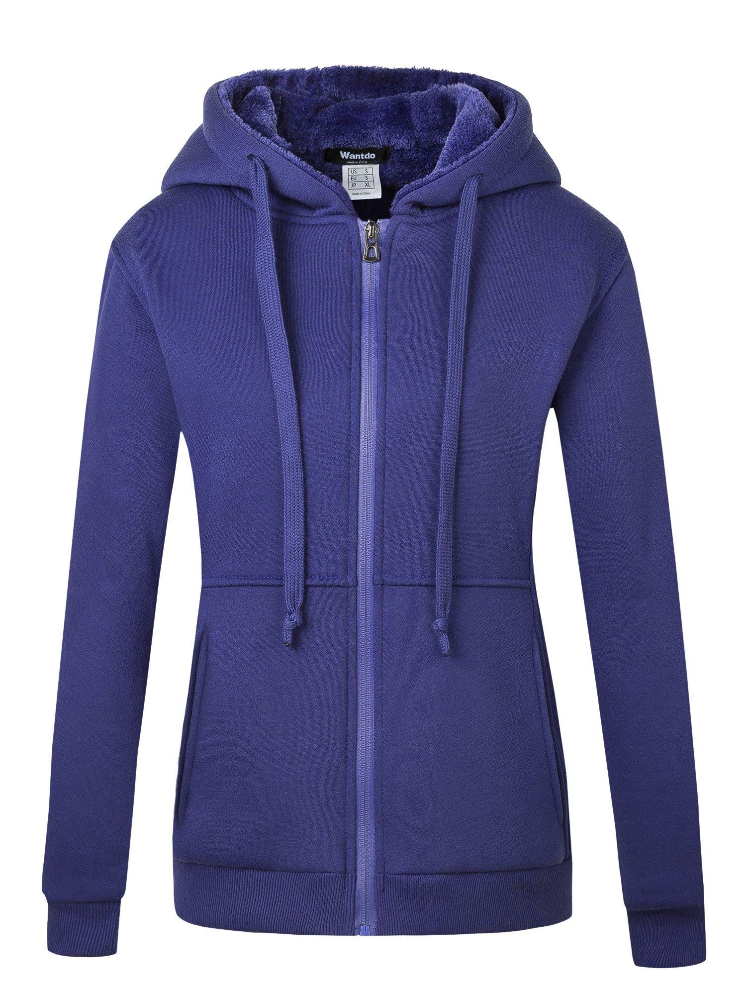 Wantdo Women's Warm Hoodie Sweatshirt Slim Fit Sherpa Lined Thick Zip Hooded Fleece Jacket Purple Large Purple Large