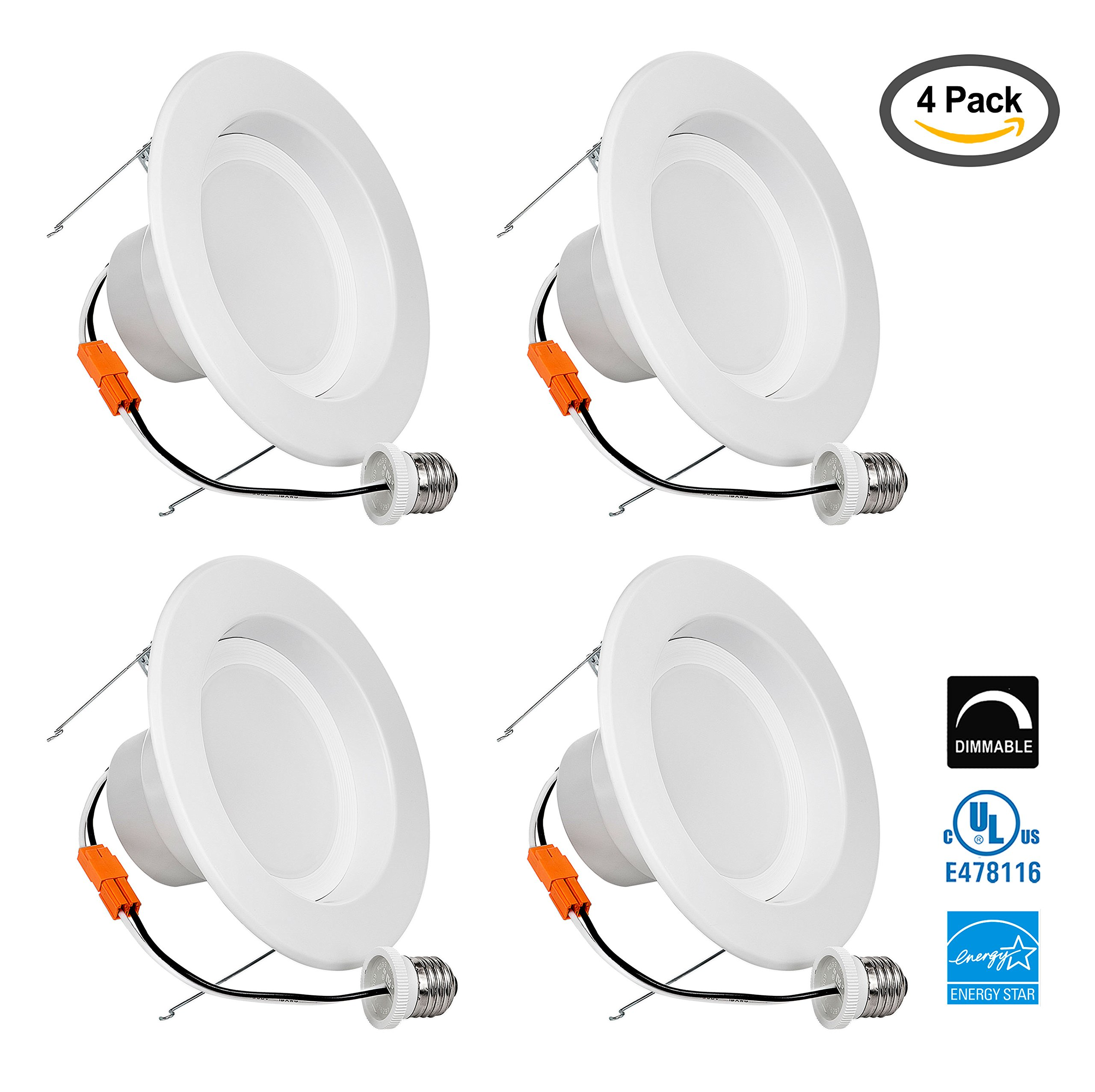 LB13114 5/6 Inch LED Downlight Retrofit Recessed Lighting Fixture, High Output, 18W (120W) Soft white 3000K, 1500 Lumens, Retrofit LED Recessed Lighting Fixture, LED Ceiling Light, Dimmable (4 Pack)