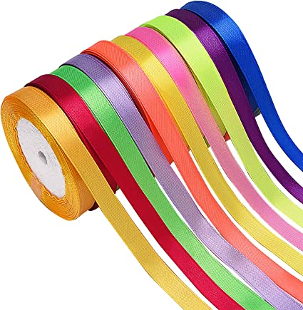 Embellish Ribbons for Bows Crafts Gifts Party Wedding Livder 20 Colors 500 Yard Fabric Ribbon Silk Satin Roll 20 Rolls 2//5 Inch Width