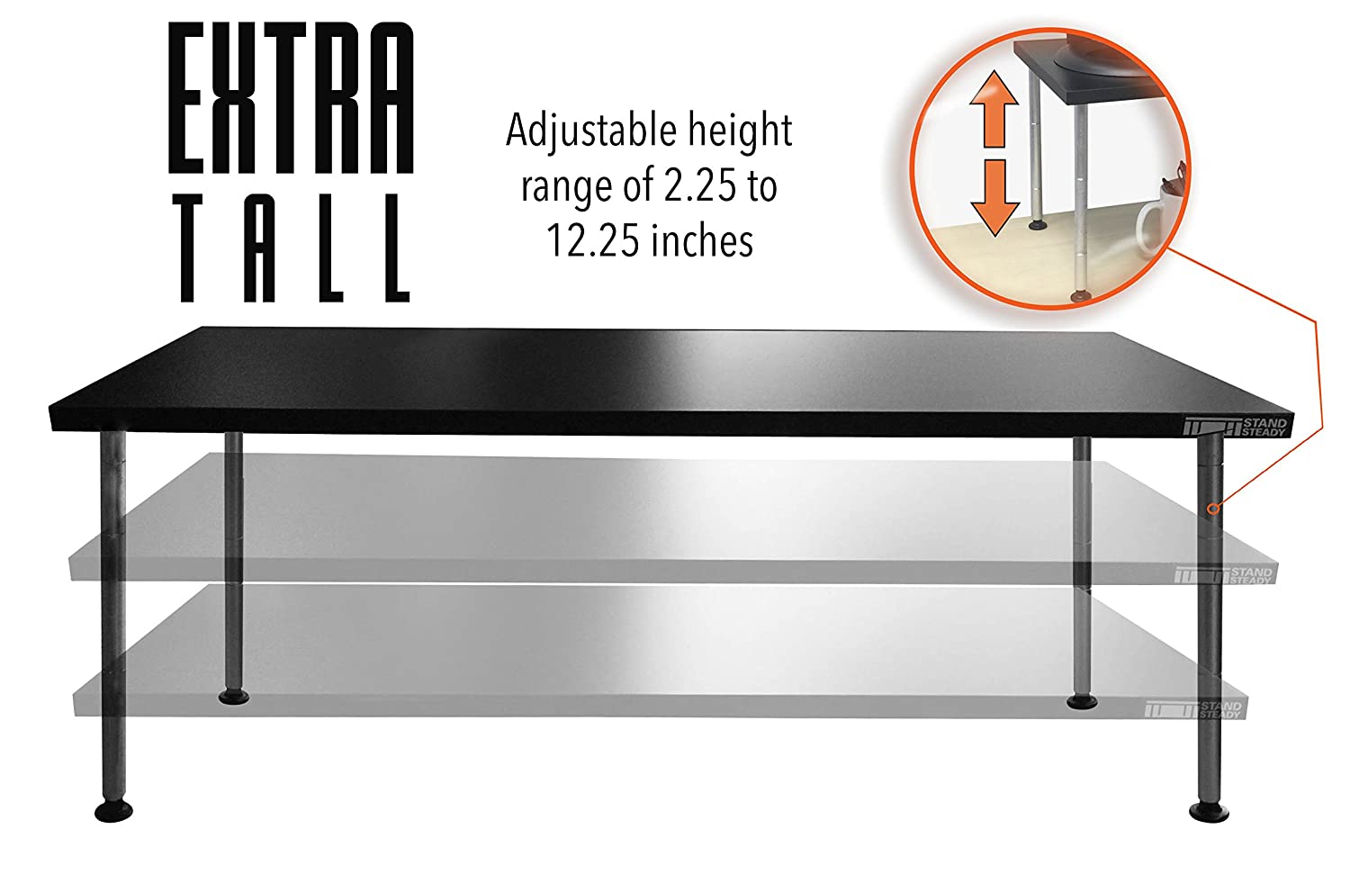 Extra tall bed risers - Amazon Com Stand Steady Titan Monitor Stand Crazy Big Tall Holds 2 Monitors Height Adjustable 2 12 Inches Xl Office Products