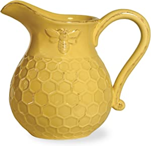 Boston International JC16115 Embossed Ceramic Pitcher, 1-Piece, Honeycomb