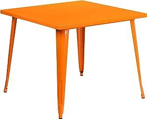 "Flash Furniture Commercial Grade 35.5"" Square Orange Metal Indoor-Outdoor Table"