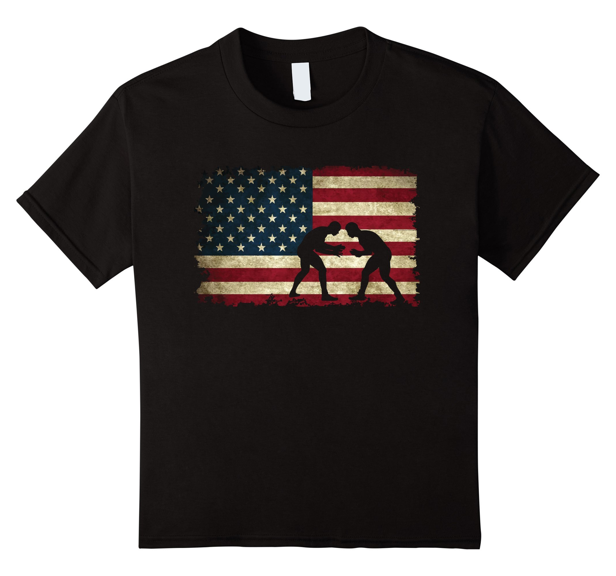 Kids Wrestling American Flag Tee Shirts Gift for a Wrestler 10 Black by Wrestling T-Shirts Gifts & Apparel