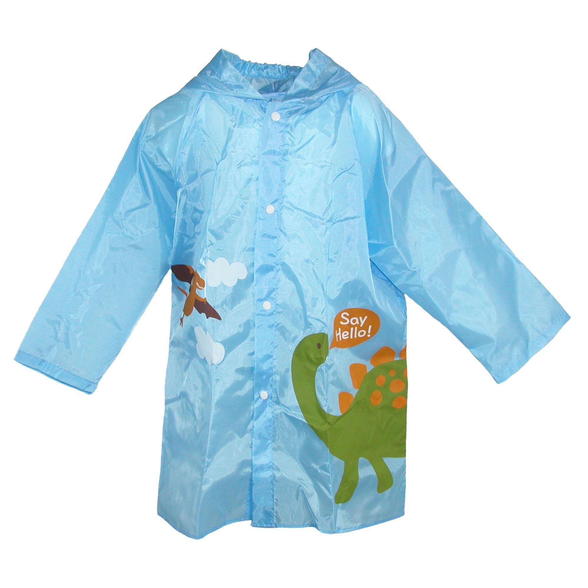 CTM Kid's Dinosaur Print Raincoat in Pouch, Blue
