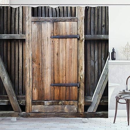 ABAKUHAUS Antiguo Cortina de Baño, Puerta rústica de Madera Rural, Material Resistente al Agua Durable Estampa Digital, 175 x 200 cm, marrón Naranja: Amazon.es: Hogar