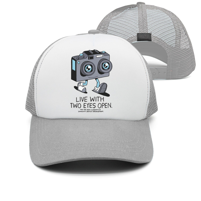85e7164b1d5 Amazon.com  YAYAZAN Caps Hats Men Live With Two Eyes Open Mesh Cool Graphic  Adjustable  Clothing