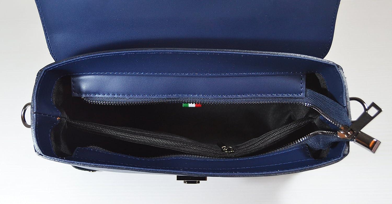 Millennium Star – AVRIL handväska i äkta läder tillverkad i Italien BLÅ