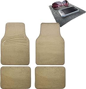 TLH Quality Cover Premium Carpet Car Floor Mats Univesal Fit with Heel Pad, Beige Color w/Black Dash Pad