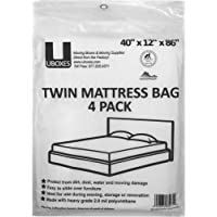 uBoxes Twin Mattress Poly Covers, 40 x 15 x 86 inch, 4 Pack