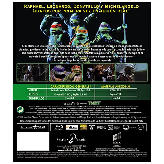 Amazon.com: Tmnt 1, La Película Original (Blu-Ray) (Import ...