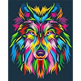"""iCoostor Paint by Numbers DIY Acrylic Painting Kit for Kids & Adults Beginner - 16"""" x 20"""" Colorful Wolf Pattern"""