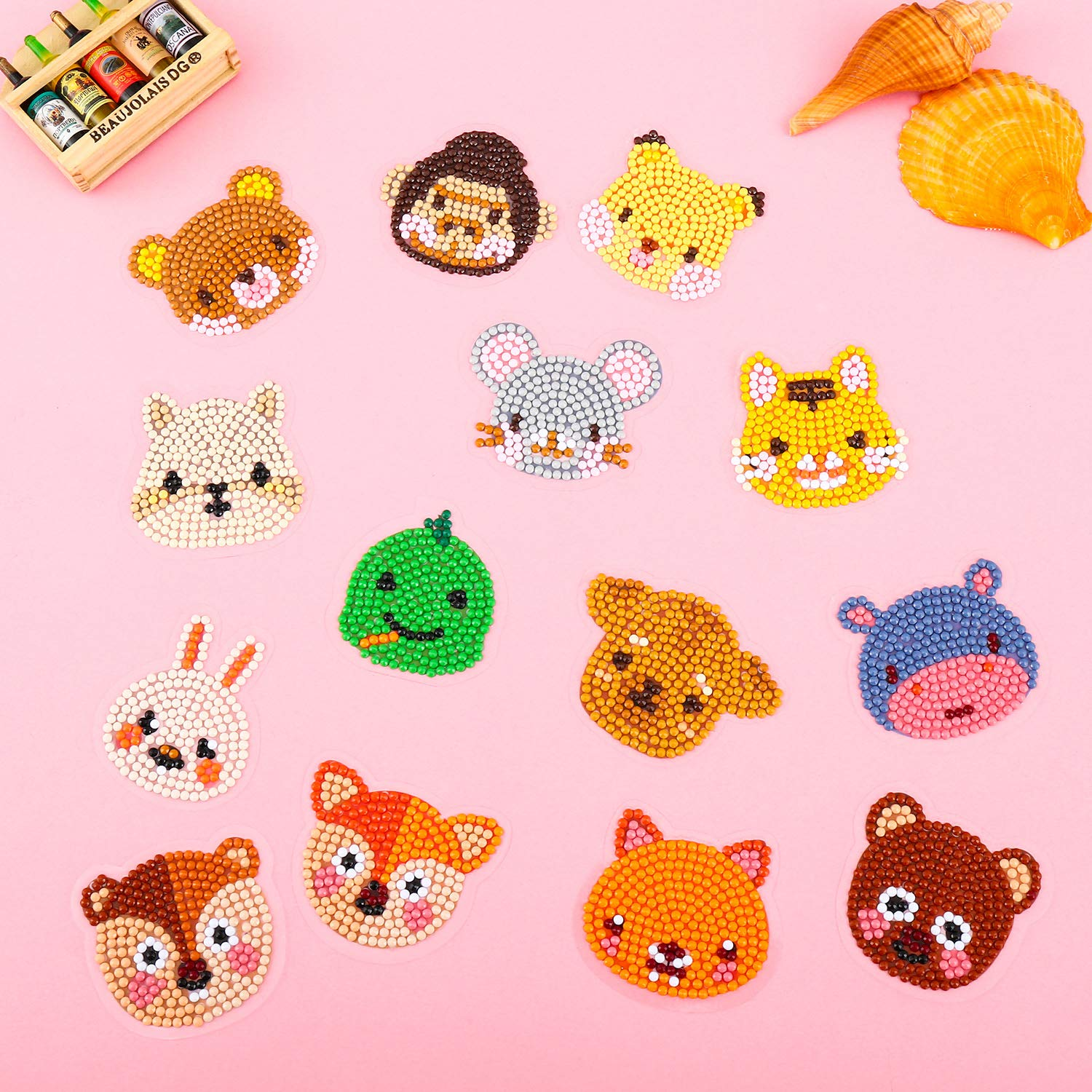Outus 36 Pieces 5D Diamond Painting Stickers DIY Paint Stickers Cute Animal Diamond Painting Stickers for Adult Beginners Kids Handmade Art Crafts